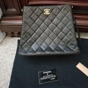 Authentic Chanel black lambskin leather bag
